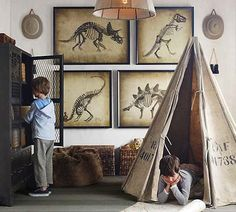love the prints in the background and the storage...actually just plain love everything. Maybe outside in the fort...a dino fort?!