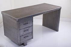 1950s Industrial French Metal Desk
