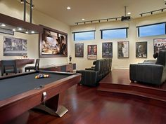 Contemporary Home Theater open to Game Room...