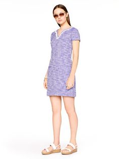 graphic tweed tunic dress, blue/fresh white