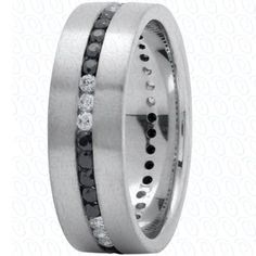 Men's Wedding Band White Gold with Black and White by JPoliseno, $2600.00