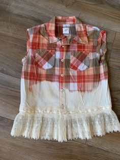 Excited to share this item from my shop: Children's Flannel Shirt, Plaid, Vintage, Ombre, lace Diy Lace Shirt, Shirt Refashion, Upcycle Shirts, Bleach Shirts, Altered Couture, Diy Clothes, Refashioned Clothes, Clothes Refashion, Sewing Clothes