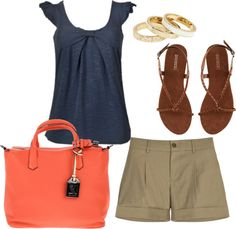 Summer Set, created by rachel-baxter on Polyvore. Don't like the color of the bag, but the rest is fab!