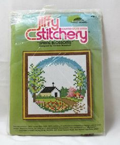 Jiffy Stitchery Spring Blossoms Counted Cross Stitch By Terrence Woodruff Crewel Embroidery Kits, Fall Bouquets, Spring Blossom, Daisy, Cross Stitch, Rainbow, Stamp, Blossoms, Floral