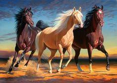 3 Arabian Horses - Arabic Art - Egyptian Art - Arabic Paintings - Home Decor - Wall Art - Handmade Oil Painting On Canvas Zebras, Arabian Art, Arabian Horses, All Ride, Western Riding, Egyptian Art, Horse Pictures, Horse Art, Wild Horses