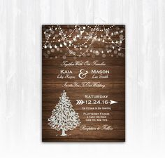 Winter Wedding Invitation, Christmas Wedding Invitation, Christmas Tree Wedding, Winter Wedding Invite, Winter Invitation, Wood Winter Wedding