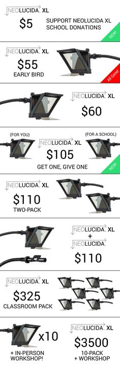 Trace what you see with the larger, easier-to-use next generation camera lucida. From the team that brought you the NeoLucida.