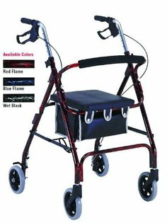 "Flame Finish Aluminum Rollator With Loop Brakes Burgundy/Black Flame Finish by PMI Inc.. $121.99. Available In Blue/Black Flame Finish. Available In Burgundy/Black Flame Finish. PROBASICS Rollators featuring Flame metallic finishes offer great value with an elegant look and hard coatings that are durable and sparkle with life. Lightweight, welded aluminum frame. Adjustable height handles. Easy squeeze brakes offer progressive braking power and lock down for parking. 6"" Polyuret..."