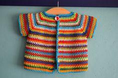 crochet - Gratis haakpatroon kleurrijk babyvestje - free crochet pattern colourfull baby cardigan - Apocalypse Now And Then Cardigan Au Crochet, Cardigan Bebe, Gilet Crochet, Crochet Vest Pattern, Knit Crochet, Crochet Patterns, Free Pattern, Cardigan Pattern, Knitted Baby