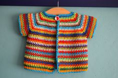 FREE crochet pattern :  Ravelry: Colourful Baby vVest pattern by Annelies Baes (Vicarno) https://www.facebook.com/Vicarno-Crochet-Designs-Annelies-Baes-189840241043637/