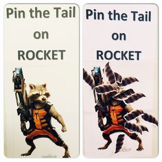 Guardians of the Galaxy Birthday Party! - Pin the tail on Rocket ... Before & After