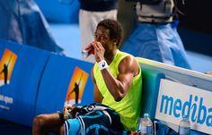 Love that Gael #Monfils is enjoying a...pop?  #tennis #ausopen www.australianopen.com