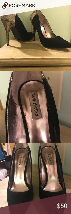 Black with Gold Shimmer Steve Madden heels