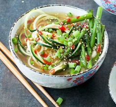 Zucchini noodle soup is a delicious low-cholesterol recipe.