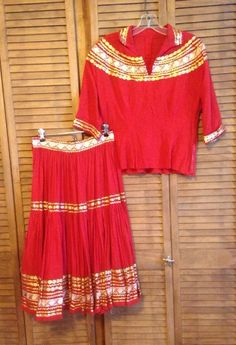Vtg 1950s PATIO DRESS Fiesta Squaw Square Dance Red Gold Rickrack Rockabilly #notags Vintage Clothing, Vintage Dresses, Vintage Outfits, Rickrack, Fiesta Dress, Vintage Patio, Square Dance, Cowgirls, Red Gold