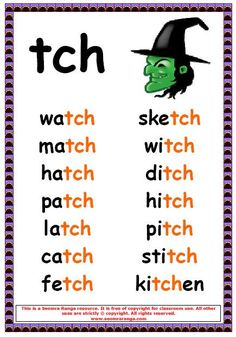 Phonics poster to show tch words. Phonics Chart, Phonics Rules, Spelling Rules, Jolly Phonics, Phonics Worksheets, Phonics Activities, Phonics Reading, Teaching Phonics, Kindergarten Reading