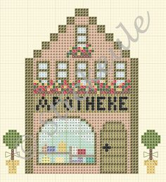Stickeules Freebies: SMALL TOWN VILLAGE pattern / chart for cross stitch, alpha pattern, crochet, knitting, knotting, beading, weaving, pixel art, and other crafting projects.