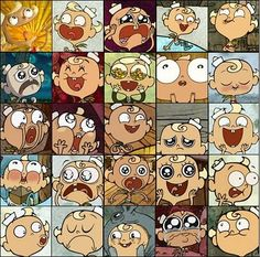 An assortment of Flapjack's many emotive expressions (The Marvelous Misadventures of Flapjack --- Cartoon Network | Original Run: June 5, 2008 - Aug 30, 2010)