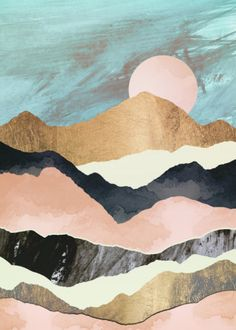 "Beautiful ""Pink Mountains"" metal poster created by SpaceFrog Designs. Our Displate metal prints will make your walls awesome. Abstract Portrait, Abstract Oil, Abstract Canvas, Oil Painting On Canvas, Abstract Landscape, Landscape Paintings, Black Abstract, Landscape Tattoo, Pink Mountains"
