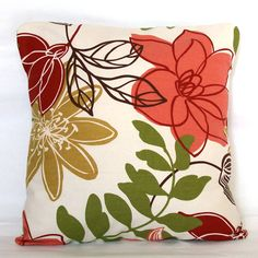 Red Floral Throw Pillow Cover  18x18 or 20x20 by PureHomeAccents, $28.00