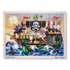 Pirate Themed Wooden Jigsaw Puzzle with 48 Pieces