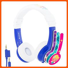 Explore Foldable Volume Limiting Kids Headphones - Durable, Comfortable & Customizable - Built in Headphone Splitter and In Line Mic - For iPad, Kindle, Computers and Tablets - Blue Kids Headphones, Headphones For Sale, Beats Headphones, Over Ear Headphones, Toys For Little Kids, Amazon Gadgets, Tech Gadgets, Headphone Splitter, Cool Things To Buy