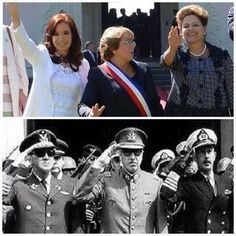 The presidents of Argentina, Brazil, and Chile today vs in the 70's.