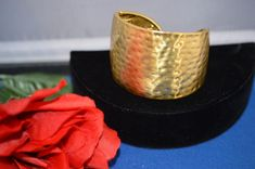 Kenneth Jay Lane HAMMERED GOLD HINGED CUFF Bracelet Signed ships 48 HRS  #KennethJayLane #Cuff