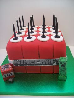 Creepers cake Auckland Minecraft Cake Auckland TNT Cake Auckland $195 cakes 8 inch square (figurines bought from a licensed retailer)