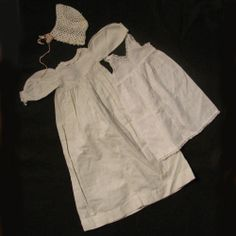 Antique White Cotton Gown, Slip & Bonnet for Bisque Baby Doll