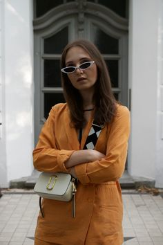 Ines B spotted with our Marc Jacobs Snapshot in Cloud White Marc Jacobs Snapshot Bag, Marc Jacobs Bag, Fall 2018, Work Wear, Cloud, Fashion Show, Fancy, Shoulder Bag, How To Wear