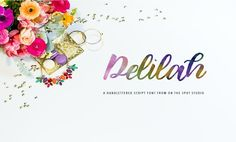 Delilah Fonts Delilah is a hand lettered brush font with bonus alternates. Great for branding, journaling, scrapbo by OnTheSpotStudio