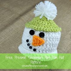 Cream Of The Crop Crochet ~ Preemie Snowman Pom Pom Hat {Free Crochet Pattern}