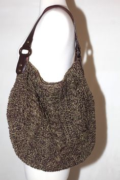 GAP NATURAL WOVEN PAPER SUEDE LEATHER WOOD TOTE BAG SHOULDER PURSE GREEN BROWN #GAP #TotesShoppers