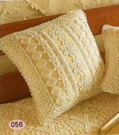 great way to dress up old pillows and good pattern for blankets and such