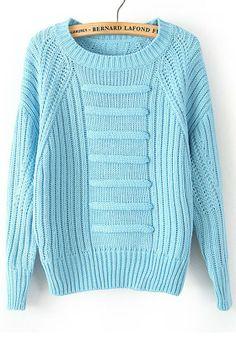 Blue Plain Round Neck Straight Wool Blend Sweater