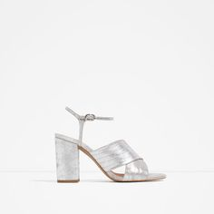 Image 1 of METALLIC CROSSOVER SANDALS from Zara Silver Block Heel Sandals c78898cac176