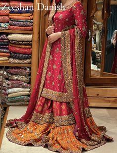 Bridal Mehndi Dresses, Pakistani Wedding Dresses, Pakistani Dress Design, Pakistani Outfits, Bridal Outfits, Pakistani Gharara, Anarkali Dress, Lehenga, Pakistan Bridal