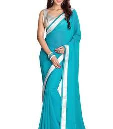 Buy sky blue plain chiffon saree With Blouse chiffon-saree online