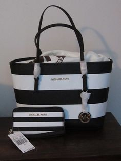 2pc MICHAEL KORS SMALL JET SET TRAVEL TOTE white/black stripe+Phone case wallet #MichaelKors #TotesShoppers