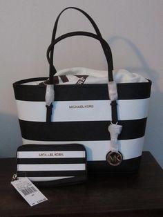 2pc MICHAEL KORS SMALL JET SET TRAVEL TOTE white/black stripe+Phone case wallet #MichaelKors #TotesShoppers