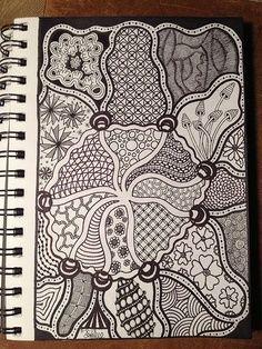 preparing to draw this amazing zentangle pattern