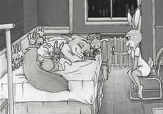 Plushies by Ziegelzeig.deviantart.com on @DeviantArt This art was commissioned two months ago by beecrofta   Judy's room was drawn from the model share by Cory Loftis.  #anthro #anthrofurry #anthropomorphic #asleep #bed #bedroom #bunny #cute #disney #fox #fun #furry #hopps #joke #judy #love #nick #phone #plushies #rabbit #sleep #wilde #zootopia #zootropolis