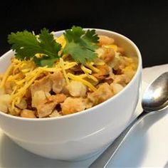 Slow-Cooked White Chili Allrecipes.com (my friend used 1 can of chilis ...