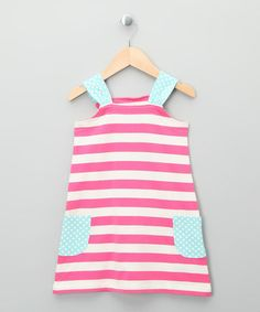 Take a look at this Ecru & Bright Pink Stripe Organic Dress - Toddler & Kids by Kite Kids on #zulily today!
