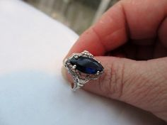 Sappire Gemstone Sterling Silver Ring 1940s Vintage by OurBoudoir, $128.00
