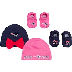 NFL New England Patriots 2 Baby Caps and 2 Booties Set 06 Months NavyPink ** You can find out more details at the link of the image.