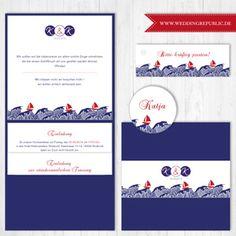 Hochzeit Einladung | Wedding invitation | Save the date | Maritim |maritime |waves |Wellen