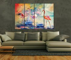 Watercolor Pink Flamingos canvas Abstract Flamingos wall art Abstract painting decor African Birds Home Decor Large Canvas Art, Abstract Canvas, Custom Canvas, Modern Wall Art, Pink Flamingos, Color Schemes, African, Canvas Prints, Birds