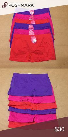 Bundle of 6 Spandex Boy Shorts OS Bundle of 6 Spandex Boy Shorts OS, two of each, Pink, Purple and Red Angelina Intimates & Sleepwear Panties